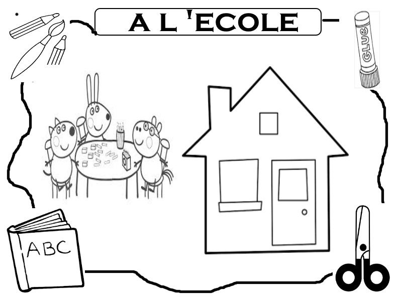 Coloriage peppa pig a lecole - Coloriages peppa pig ...